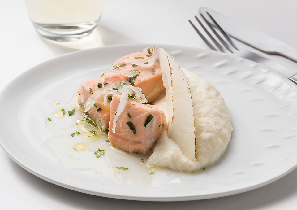 Marianted-Salmon-and-mash-potato-with-roasted-palm-cane