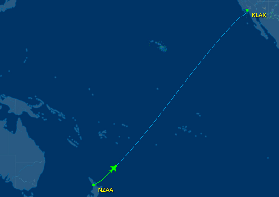 auckland to los angeles route